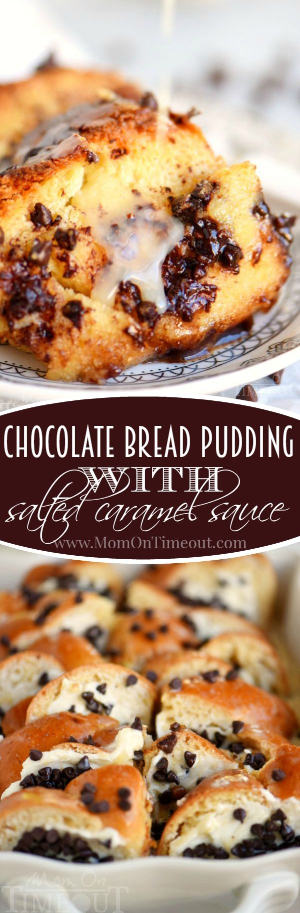 Decadence meets comfort in this easy Chocolate Bread Pudding with Salted Caramel Sauce recipe! This sauce is to die for!
