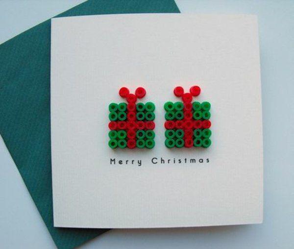 weihnachtskarten basteln geschenke aus knöpfen