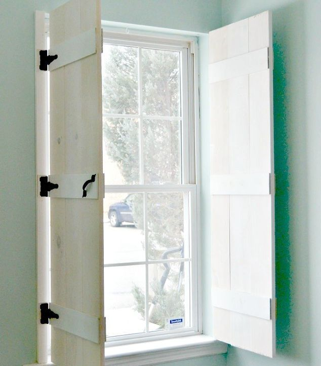 DIY farmhouse style indoor shutters are the perfect solution to privacy when needed and letting the light shine in when you want.