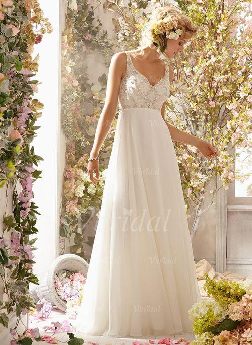 Brautkleider - $144.75 - Empire-Linie V-Ausschnitt Sweep/Pinsel zug Chiffon Brautkleid mit Perlen verziert (0025058301)