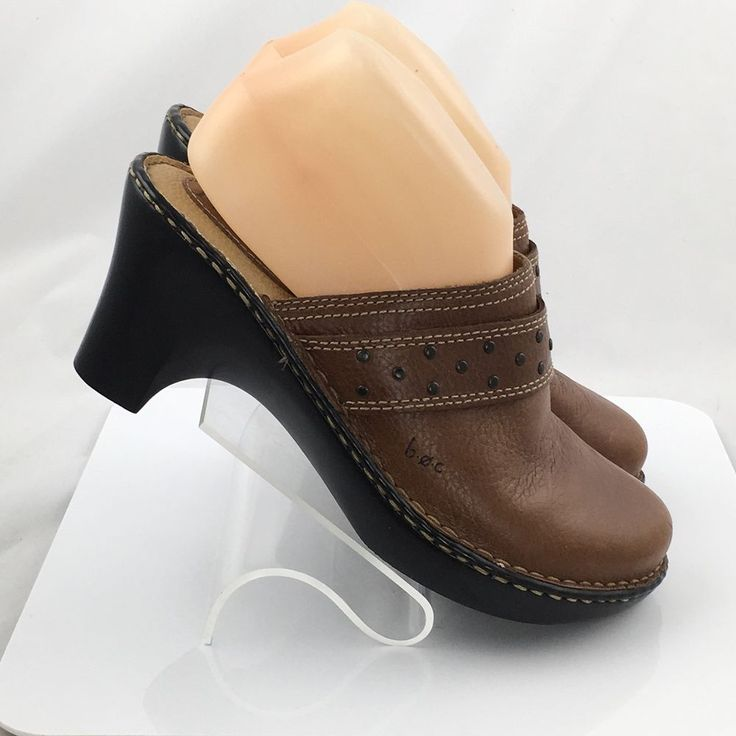 Boc Børn Womens Leather Mules Heel Brown Slip on Shoes Size 8 casual work #Brn #Mules #Casual