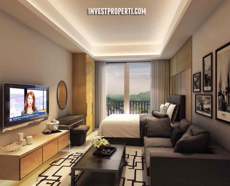 Studio Room Interior Design Saffron Noble Sentul City Apartment