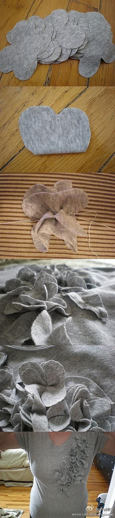 easy knit flowers for tee