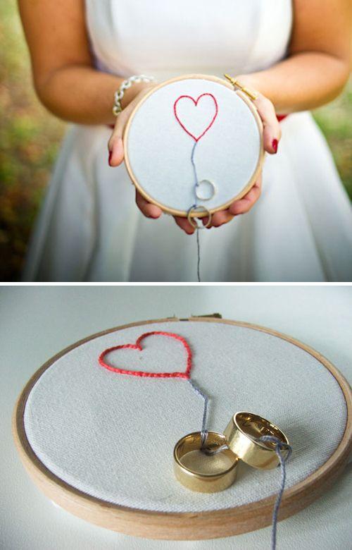 Idea para bodas: bastidor de bordados como porta alianzas