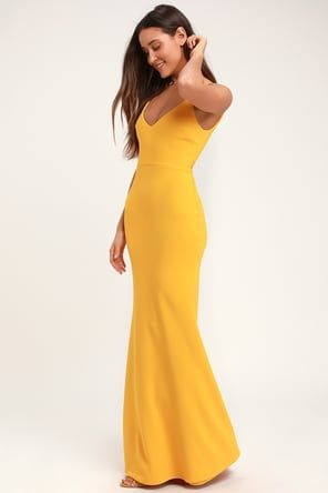 c2a08aec9d0 Lovely Yellow Maxi Dress - Yellow Surplice Bridesmaid Dress