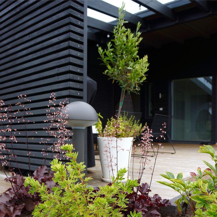 Outdoor living area. Black garden. Nordic garden design, designed by Green Idea