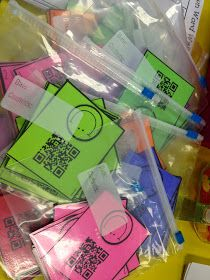 To incorporate technology, the kids could scan QR codes with their ipods or chromebooks they have to reveal secret codes. These codes could have linked webpages with online activities for their typing agent, verb practice, or online math. It would be a fun surprise for which one they would do during Daily 5 time.