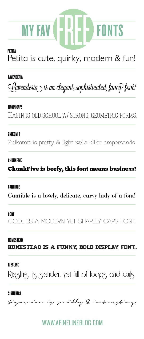 my favorite free fonts from www.afinelineblog.com#fonts #free #freefonts #typography
