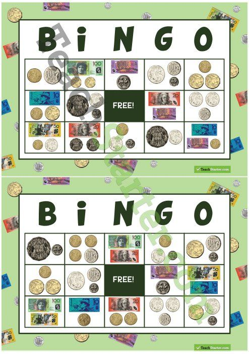 Teaching Resource: 32 different bingo cards using notes and coins.