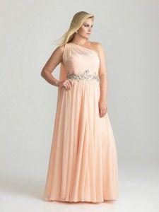 Romantica een schouder lange perzik Avondjurken grote maten prinsen bruidsmeisje jurken stijl 6786w
