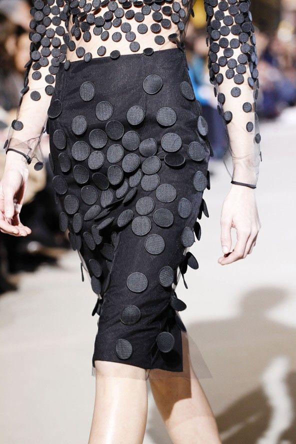 Sheer top + skirt scattered with applique circles; fashion details // Stella McCartney