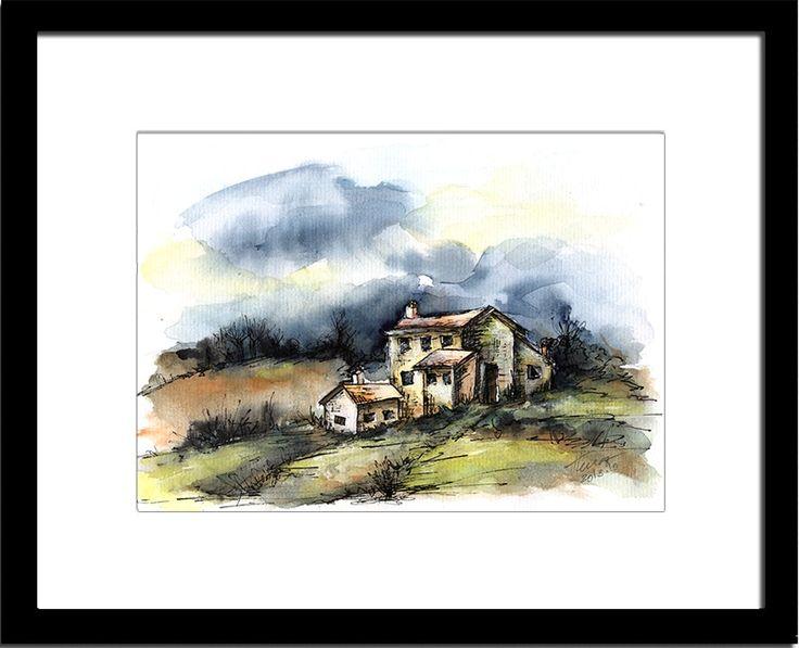 Artualoriginalart - Sunset on the farm - original watercolor and ink painting