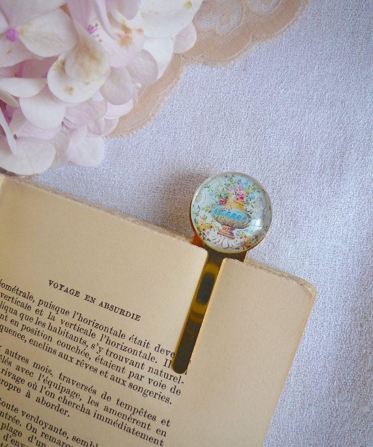 Marque page fleuri en métal doré : Marque-pages par bric-broc-et-vieilles-dentelles