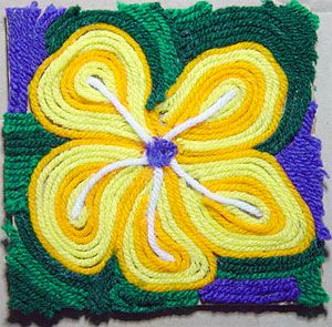 Third Grade Art Lesson 28 | Looking at Flowers Part 2 Completing Our Yarn Painting