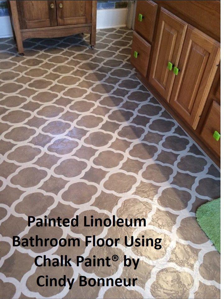 Painted Linoleum Floor bathroom Annie Laquer  The Purple Painted Lady Chalk Paint