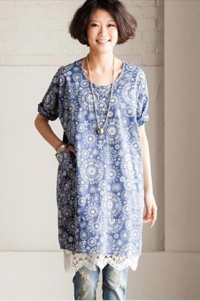 Blue Printing T-Shirt  Loose Cotton Flower Top Long Sleeve Romantic Women Dress C915A