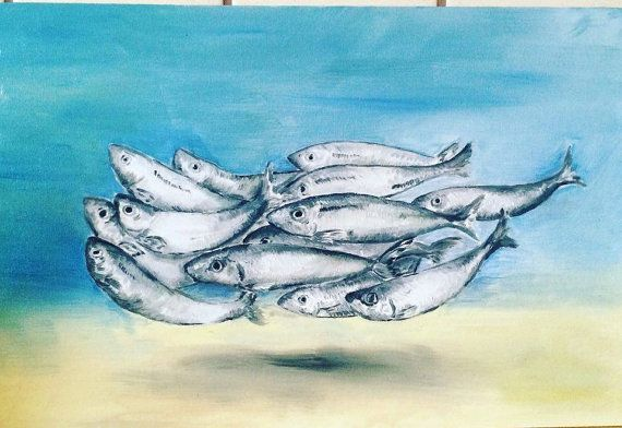 School Of Fish Painting  Oilcolor  20x30  Canvas by KubuHandmade