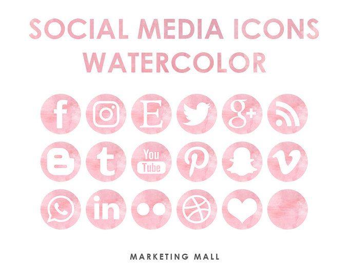 Rosa de rosa acuarela Social Media iconos, botones de redes sociales, iconos sociales, iconos Blog, sitio web Branding, Blog botones, los iconos acuarela