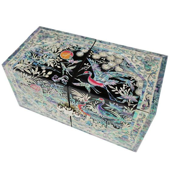 Lacquer ware inlaid Necre mother of pearl handcrafted jewelry case,jewel box trinket box with crane & tortoise Design #410