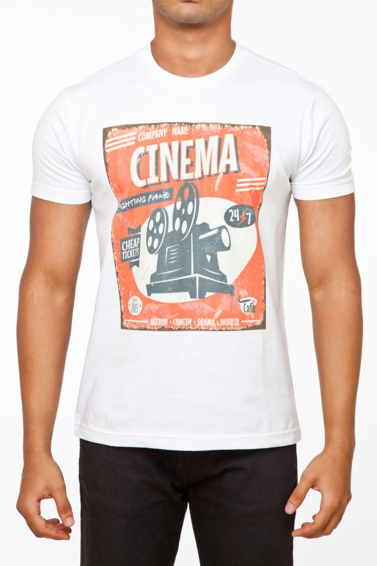 Fighting Fame debuts the Retro Cinema Print 100% Cotton White Crew Neck T-Shirt. As she says, Cinema never dies. @ FightingFame.com