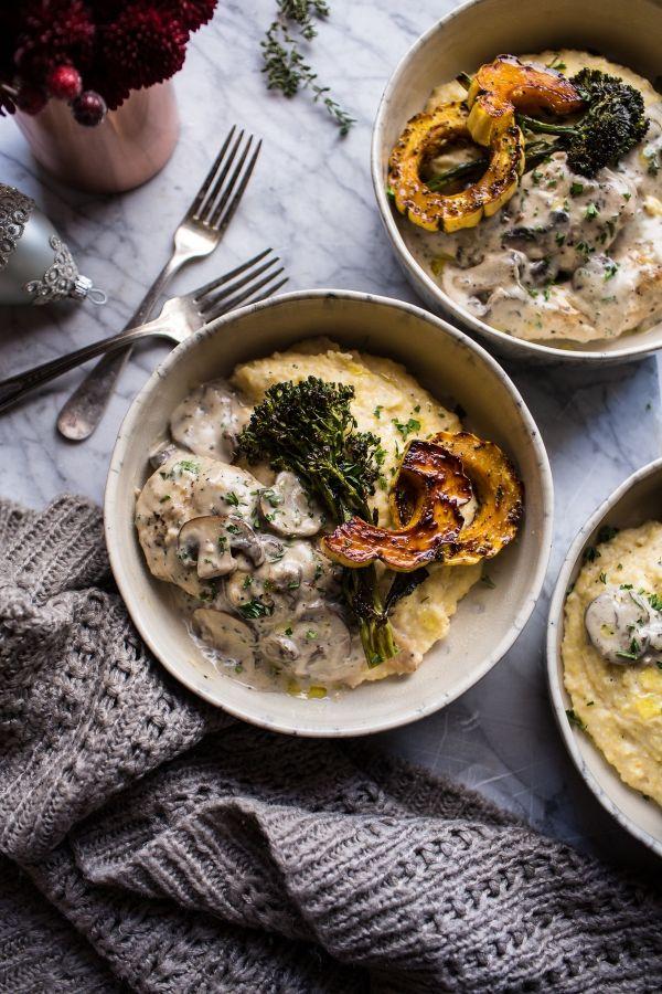 45-Minute Truffled Mushroom Chicken with Polenta + Roasted Broccolini   halfbakedharvest.com @hbharvest