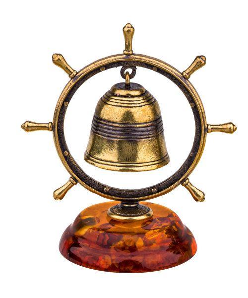 Baltic Amber Russian souvenir Brass Bell by RussianSouvenirArt
