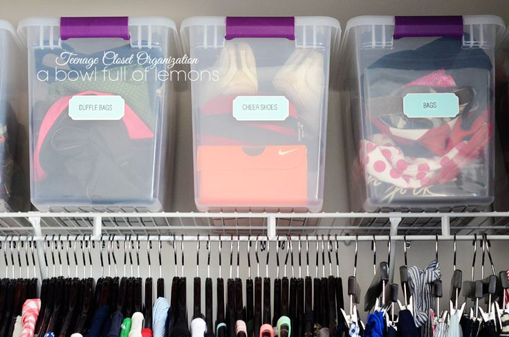 Written for a teen's closet, but lots of good ideas for all family members here (love the containers for bags/purses/duffle bags). --> Closet Organization - A Bowl Full of Lemons 3