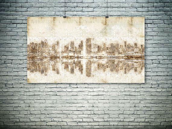 New York Manhattan skyline map collage Manhattan by PasteUpStore
