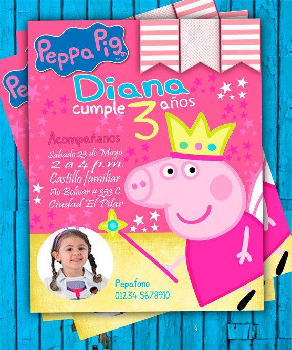 Invitación de Cumpleaños Peppa Pig 2016 PSD por oscarsitosroom