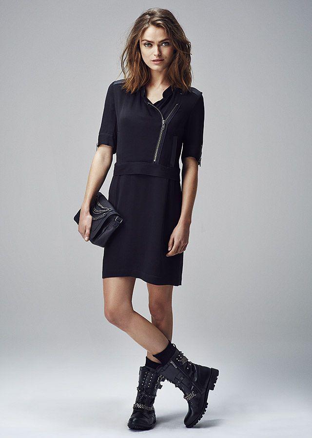 mode femme robe noire ikks fashion pinterest bottes moto mode femme et bottes. Black Bedroom Furniture Sets. Home Design Ideas