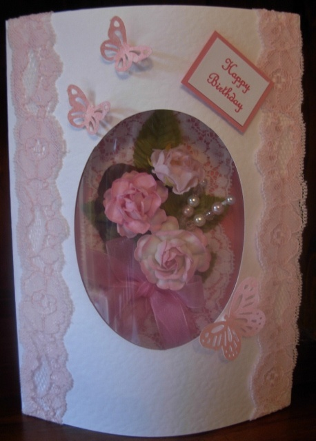 Raised oval aperture card with handmade bouquet