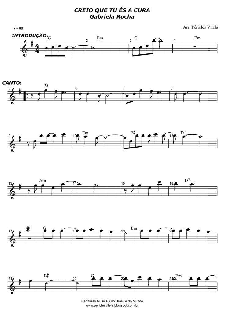 Partituras Musicais: Creio que tu és a cura - Gabriela Rocha - Teclado, Violino…                                                                                                                                                                                 Mais