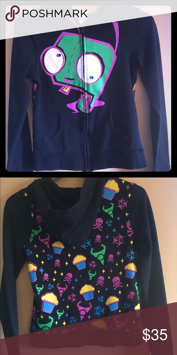 """Hot topic """"Gir"""" character hoodie (invader zim) This was bought in the 90's when the cartoon was popular so it's a bit hard to find now. Has the character gir on the front with random oddities on the back and thumb holes on the sleeves. Has some wear but overall good condition. Hot Topic Tops Sweatshirts & Hoodies"""