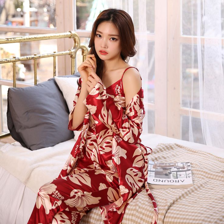 Elegant Luxury 2017 Fashion Sexy Silk Robe Sets 3 Piece Women's Pajama Sets Print Women's Sleepwear Babydolls Silk Pajama Sets #Affiliate