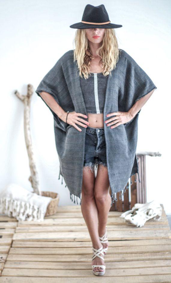 Boho Kimono Tassels Gypsy Bohemian Kimono Jacket by HandloomStore