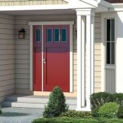 Notice the door opens at the sidelight.  And the 4-piece column is not so heavy for a smallish porch.