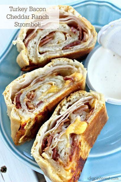 Turkey Bacon Cheddar Ranch Stromboli on MyRecipeMagic.com