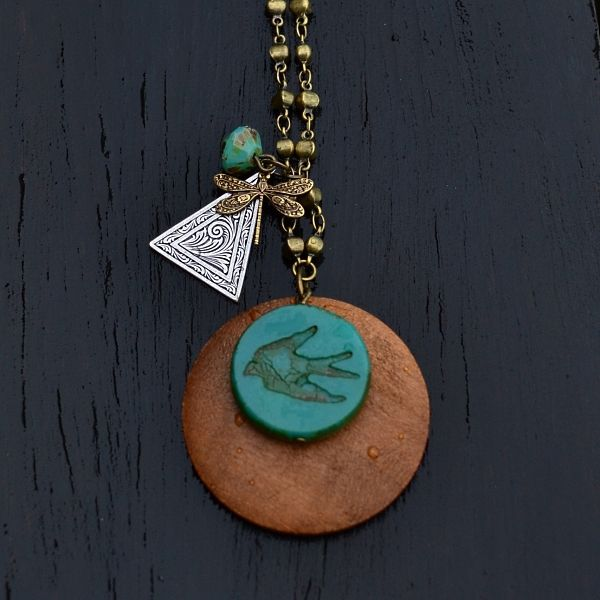 Bird Charm necklace ~ Czech green/turq glass, antiqued silver and brass charm on antiqued brass chain ~ adjustable length 58 to 63cm ~ sits around sternum