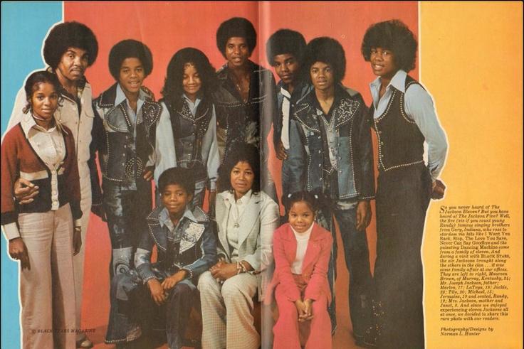 The Jackson Family from Black Stars Magazine (1974)  (L-R Rebbie Jackson, Joe Jackson, Tito Jackson, Marlon Jackson, La Toya Jackson, Jackie Jackson, Michael Jackson, Jermaine Jackson, Randy Jackson, Katherine Jackson, and Janet Jackson)