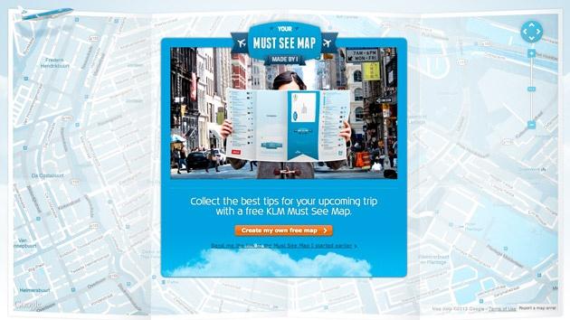 Partant du constat que vos amis connaissent mieux vos goûts qu'un simple guide, KLM a donc conçu un site internet utilisant Google Maps. Après avoir indiqué la ville dans laquelle vous souhaitiez vous rendre, le dispositif relaye ensuite votre projet, demandant à vos amis de vous conseiller les meilleurs lieux de votre visite. Une version papier vous est ensuite envoyée par KLM, sous trois semaines, répondant adroitement au problème d'itinérance des données mobiles à l'étranger.