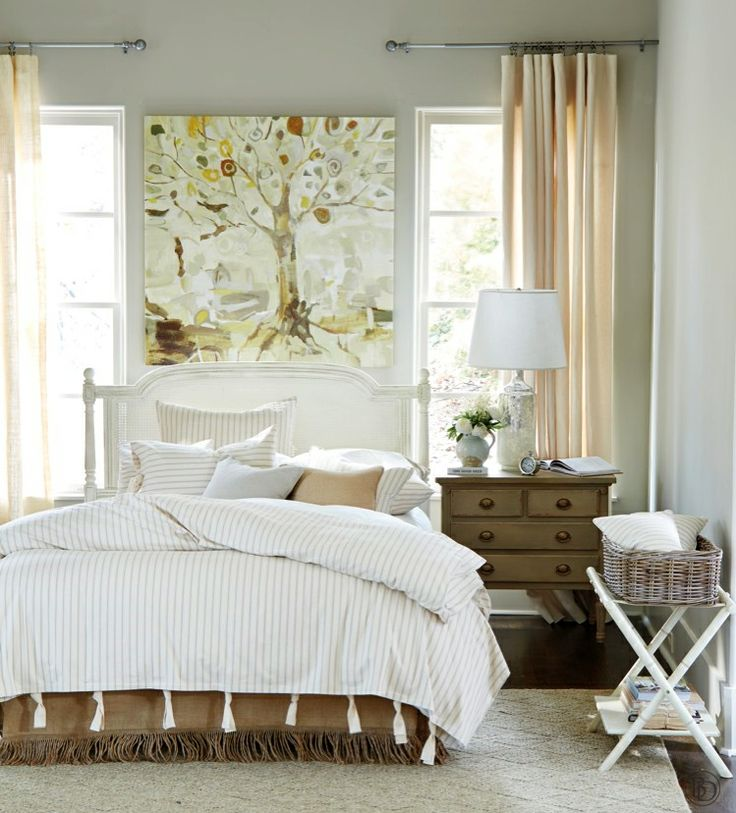 Ticking stripe bedding with natural burlap bed skirt