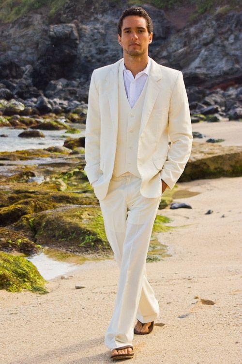 66370654ab9 Hot Sale Ivory Linen Men Suits Slim Fit Wedding Suits Tuxedo Beach  Bridegroom Blazer 2 Pieces Terno Masculino (Jacket+Pants) X