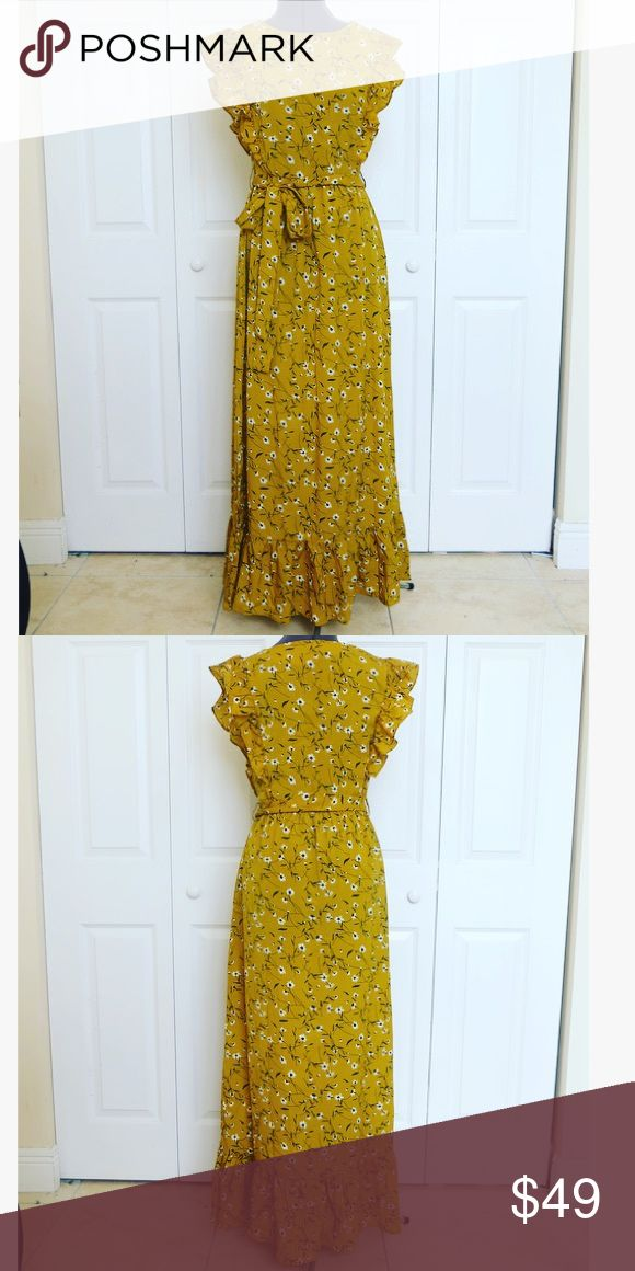 """NWT Size 6 Nast Gal Mustard Print Maxi Dress New with tags 100% polyester  34"""" Bust, 26"""" waist, 48"""" hip, 57"""" length Nasty Gal Dresses Maxi"""