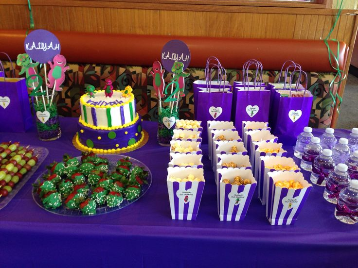 Barney birthday party theme. Barney party ideas. Barney theme. Barney treats. Barney desert table