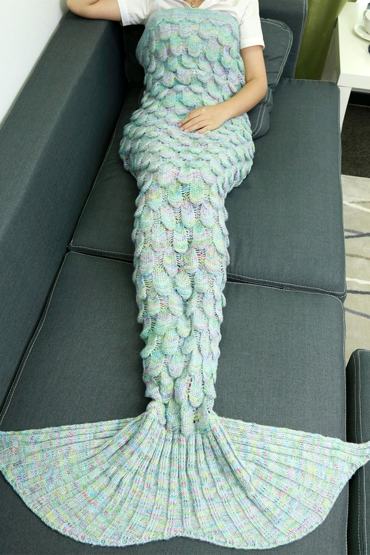 $20.42 Warmth Hollow Out Design Knitted Mermaid Tail Blanket