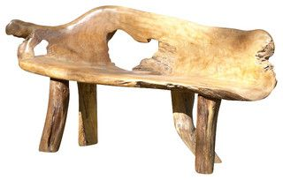 Teak Root Bench, Large - eclectic - outdoor stools and benches - by The Birdhouse Chick