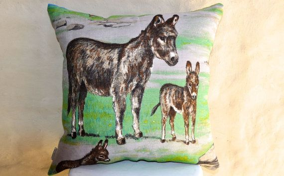 Cute donkeys to liven up any room! Mint green and mauve with grey/brown donkeys. Made with a vintage Irish linen tea towel, new unused