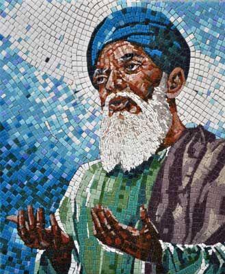 Baba Farid Ji mosaic portrait