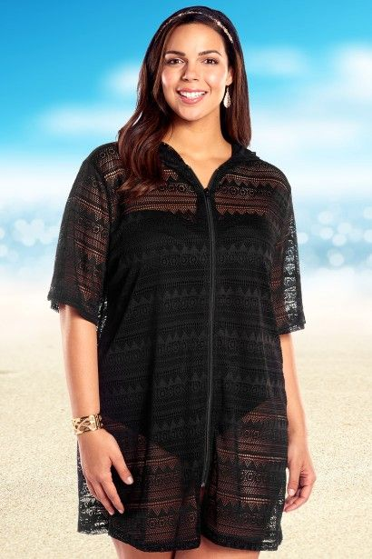 Cover-up: Crochet Zip Up Hooded Coverup by Always For Me