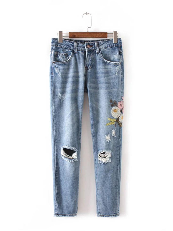 XC55 618 Европа и соединенные Штаты моды ветер цветы вышитые джинсыкупить в магазине Yenisey HongKong StoreнаAliExpress
